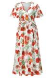 Vestido largo cruzado de manga corta blanca floral de verano