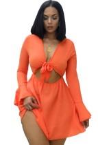 Vestito da pattinatore sexy annodato a maniche lunghe con taglio arancione estivo