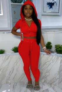 Calça e blusa vermelha casual de verão com capuz de 2 peças