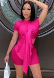 Summer Sexy Pink Irregular Top y Biker Shorts Conjunto de 2 piezas