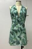 Mini vestido halter floral con escote en V profundo y sexy de verano