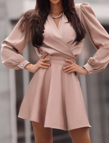 Frühling formale rosa Puffärmel Wickel Skater Kleid