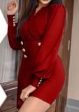 Lente rode formele mini-jurk met lange mouwen