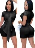 Summer Sexy Black Irregular Top y Biker Shorts Conjunto de 2 piezas
