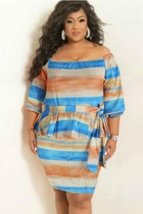 Zomer Plus-maat brede strepen off-shoulder peplum-jurk met riem
