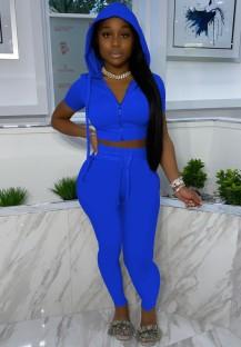 Calça e top casual de verão azul cortada com capuz de 2 peças