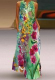 Vestido largo boho sin mangas floral de verano