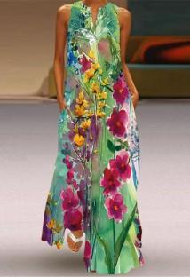 Vestido de verão longo boho floral sem mangas