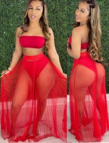Conjunto de 2 piezas de falda de malla y top bandeau rojo de verano