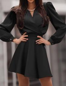 İlkbahar Resmi Siyah Puf Kol Wrap Patenci Elbise