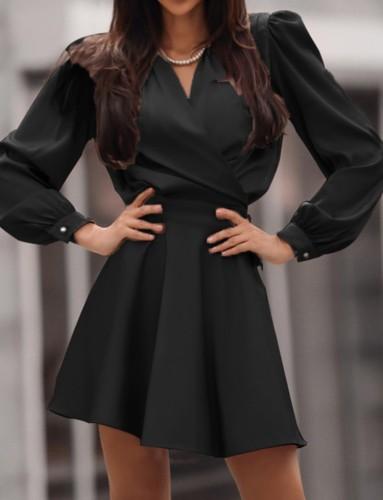 Spring Formal Black Puff Sleeve Wickel Skater Kleid