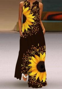 Vestido longo boho floral sem mangas de verão
