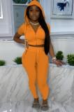 Summer Casual Orange Crop Top y Pantalones Chándal con capucha de 2 piezas