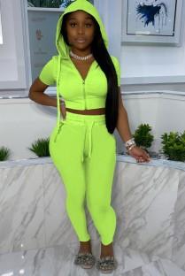 Calça e blusa verde casual de verão com capuz e calça de 2 peças