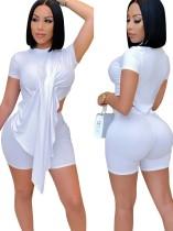 Summer Sexy White Irregular Top y Biker Shorts Conjunto de 2 piezas