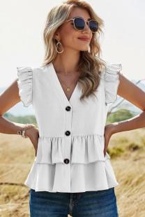 Camisa de verão casual branca com babados decote em V
