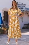 Vestido largo envolvente amarillo floral de manga corta de verano