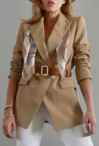 Spring Formal Khaki Langarm Blazer