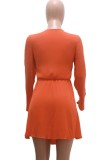 Summer Orange Cut Out Long Sleeve Knotted Sexy Skater Dress