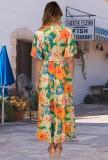 Verano floral naranja manga corta abrigo largo vestido de verano