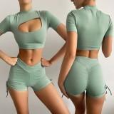 Summer Sports Green Yoga Crop Top e shorts in due pezzi