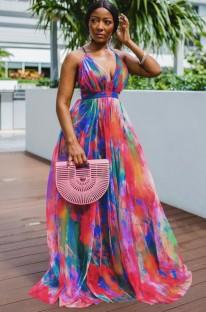 Vestido longo formal para verão com decote em V e cintura alta
