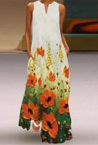 Verano floral sin mangas vestido largo boho