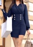 Lente blauwe formele mini-jurk met lange mouwen