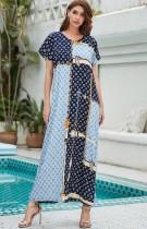 Vestido largo musulmán Abaya de manga corta con estampado de verano