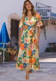 Vestido largo cruzado de manga corta naranja floral de verano