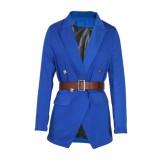 Bahar Resmi Mavi Uzun Kollu Blazer
