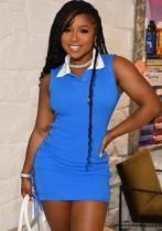 Vestido camisero sin mangas con cordones de lados azules casuales de verano