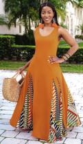Sommer Orange Ärmelloses O-Neck Patch Afrikanisches Langes Kleid