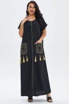 Verano negro manga corta Abaya vestido largo musulmán