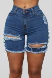 Pantalones cortos de mezclilla con flecos rasgados de cintura alta azul oscuro de verano