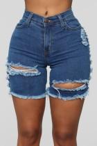Summer Dark Blue Jeans-Shorts mit hoher Taille und gerippten Fransen