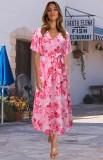 Vestido largo cruzado de manga corta rosa floral de verano
