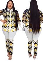 2-delige set met zomerse moederprint met lange mouwen en bijpassende broek