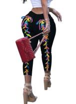 Sommer Schnür-Rücken Black Fit Jeans