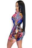 Summer Print Schnürung Langarm Mini Bodycon Kleid