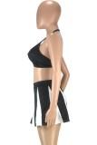 Summer Sports Conjunto de sujetador halter negro y falda tutú