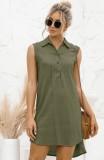 Vestido de blusa sin mangas verde alto bajo informal de verano