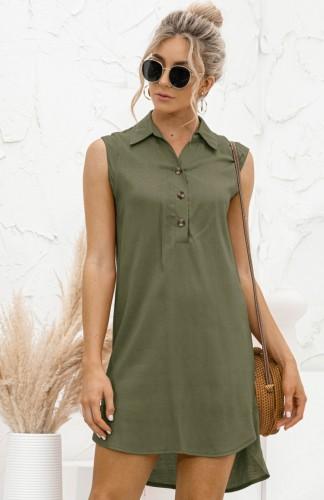 Летнее повседневное зеленое платье-блузка без рукавов с высоким низким вырезом