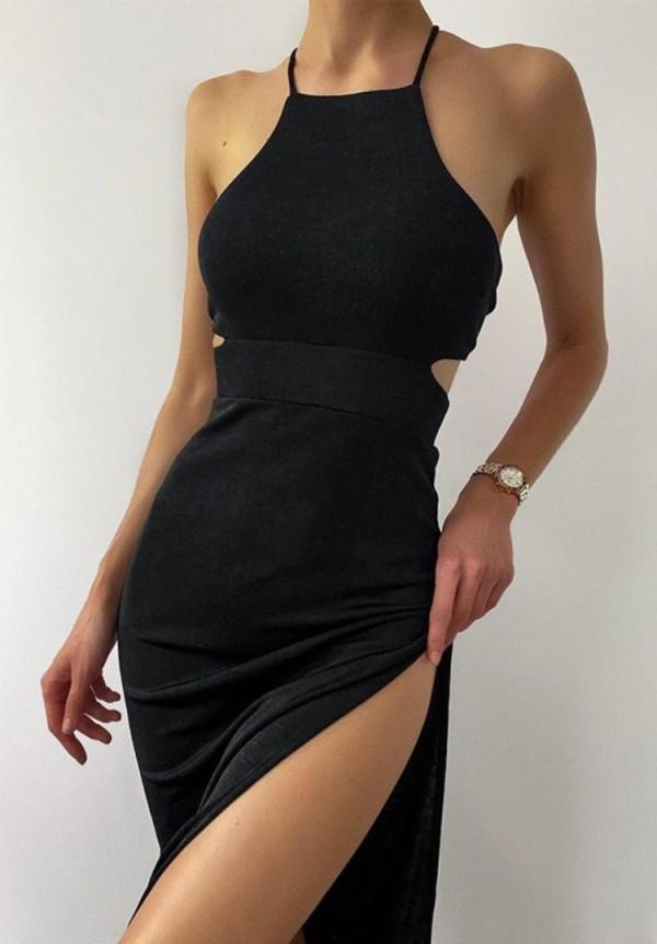 Vestido largo formal de verano con abertura en negro y cuello halter