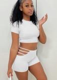 Summer White Sexy Crop Top y Hollow Out Shorts Conjunto de 2 piezas