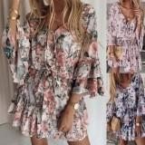 Vestido de verano corto con cuello en V floral informal y mangas anchas