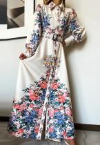 Lente bloemen witte bloemen lange maxi jurk met volledige mouwen