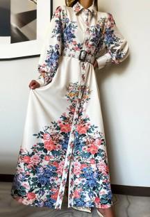 Tam Kollu Bahar Çiçek Beyaz Çiçekli Uzun Maxi Elbise