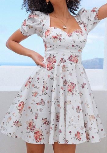 Летнее официальное белое винтажное платье с плиссированной юбкой с цветочным принтом