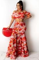 Летний укороченный топ с открытыми плечами и подходящая длинная юбка с цветочным рисунком